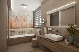 Elegant bathroom dressed in natural tones   by CADFACE
