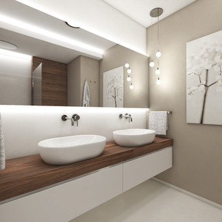 Kids' bathroom in neutral tones   by CADFACE