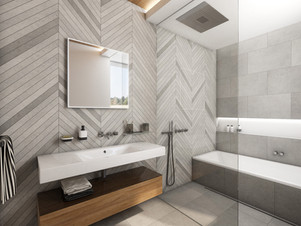 Chic bathroom with grey fishbone mosaic tiles | by CADFACE