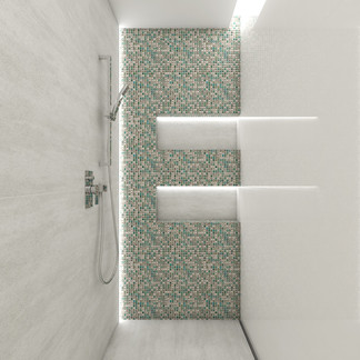 Large shower with metallic mosaic | by CADFACE