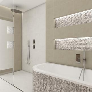 Elegantná detská kúpeľňa s metalickou mozaikou | design CADFACE