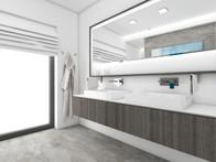 Minimalist bathroom dressed in all shades of grey | by CADFACE
