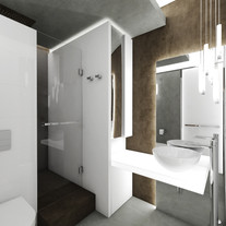 Industrial chic bathroom with backlit features   by CADFACE