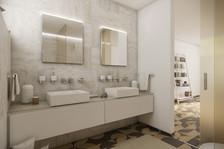 Elegant en-suite bathroom with white travertine tiles   by CADFACE