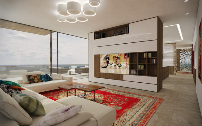 Rodinná obývačka prepojená s terasou a kuchyňou | design CADFACE