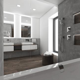 Minimalist bathroom combining dark wood and grey marble | by CADFACE