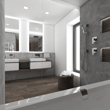 Minimalist bathroom combining dark wood and grey marble | by CADFACE