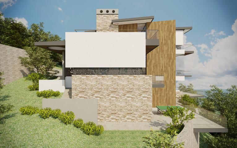 Exteriérové schodisko pozdĺž južnej fasády | design CADFACE