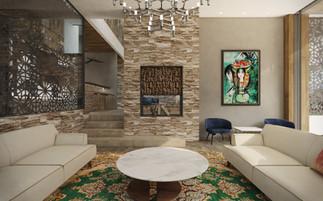 Formálna obývacia miestnosť s krbom | design CADFACE