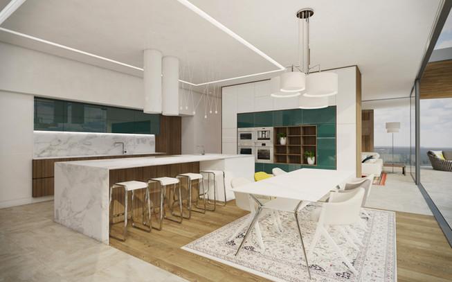 Kuchyňa s ostrovom a jedálenským stolom | design CADFACE