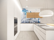 White kitchen with a tempered-glass backsplash | by CADFACE