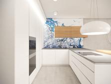 Biela kuchyňa s farebným sklom | design CADFACE