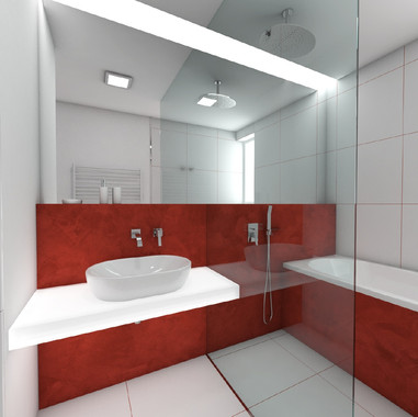 Kúpeľňa s červenou vodeodolnou stierkou | design CADFACE