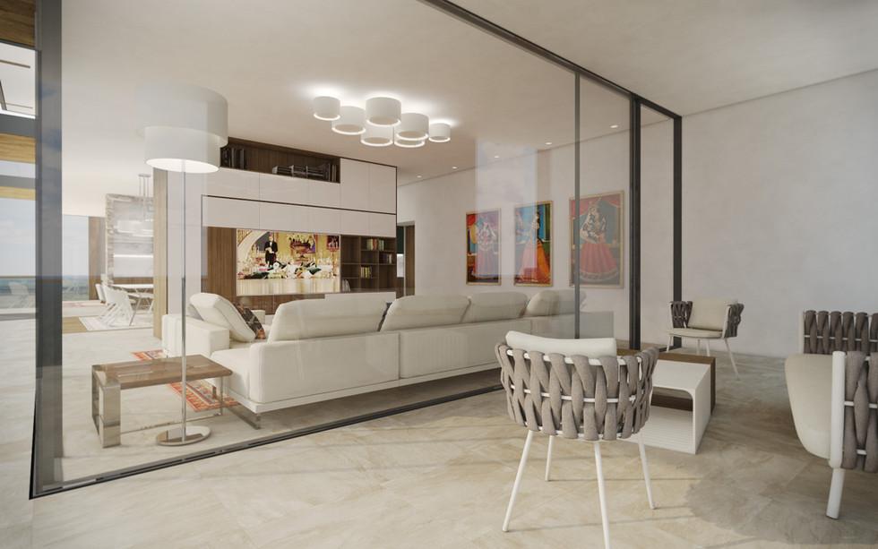 Rodinná obývačka prepojená s terasou | design CADFACE
