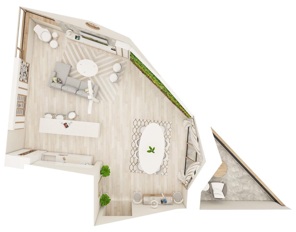 Obývačka s kuchyňou a jedálenským kútom - pôdorys | design CADFACE