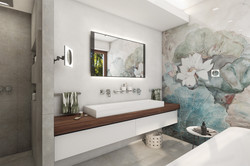Master bathroom with beautiful floral print   by CADFACE