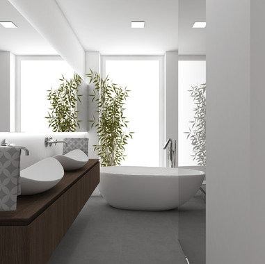 Spa bathroom with a free-standing bathtub and two countertop washbasins | by CADFACE