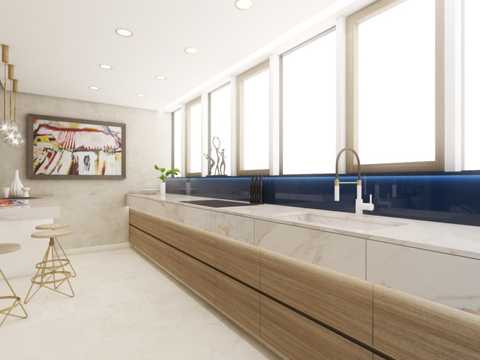 Long galley kitchen | by CADFACE