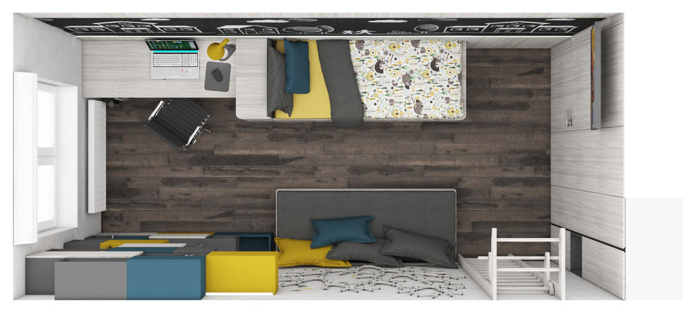 Chlapčenská detská izba - pôdorys | design CADFACE