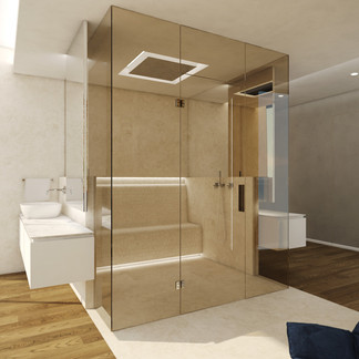 Luxury master-suite bathroom with s double steam shower | by CADFACE