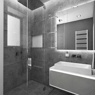 Tiny lux bathroom cladded with grey marble tiles   by CADFACE