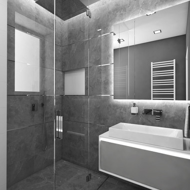 Tiny lux bathroom cladded with grey marble tiles | by CADFACE
