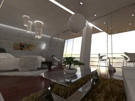 Obývačka prepojená so spálňou   design CADFACE