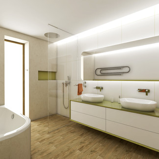 Large kids bathroom with green accents | by CADFACE