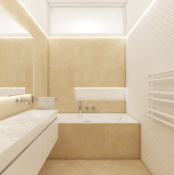 Elegant warm bathroom with tactile wall tiles   by CADFACE