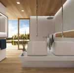 Luxury lake house bathroom with hardwood features   by CADFACE