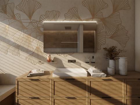 Family bathroom with custom wall decor | by CADFACE