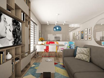 Obývačka spojená s kuchyňou   design CADFACE