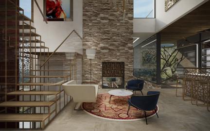 Foyer s krbom a vtáčou voliérou | design CADFACE