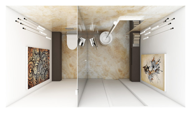 Toaleta pre hostí - dispozícia | design CADFACE