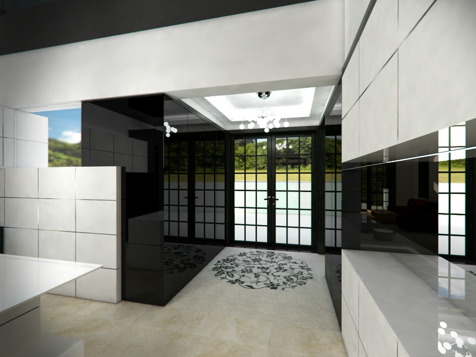 Black-and-white minimalist kitchen with the back entrance | by CADFACE
