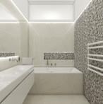 Elegant teenage bathroom with leaf decor tiles | by CADFACE