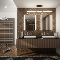 High-end master bathroom with a workout tower   by CADFACE