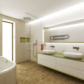 Large kids' bathroom with green accents | by CADFACE