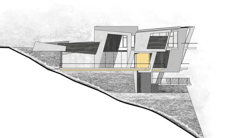 Luxury villa on a hillside - elevation | by CADFACE