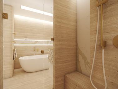 Elegant en-suite bathroom cladded with warm travertine tiles   by CADFACE