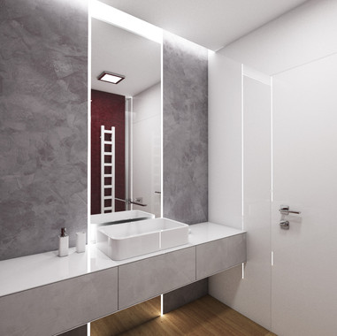 Elegant bathroom decorated with polyurethane-based stucco   by CADFACE