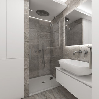 Minimalist bathroom with concrete-imitation tiles   by CADFACE