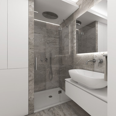 Minimalist bathroom with concrete-imitation tiles | by CADFACE