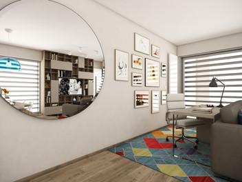 Pracovný kút v obývačke | design CADFACE