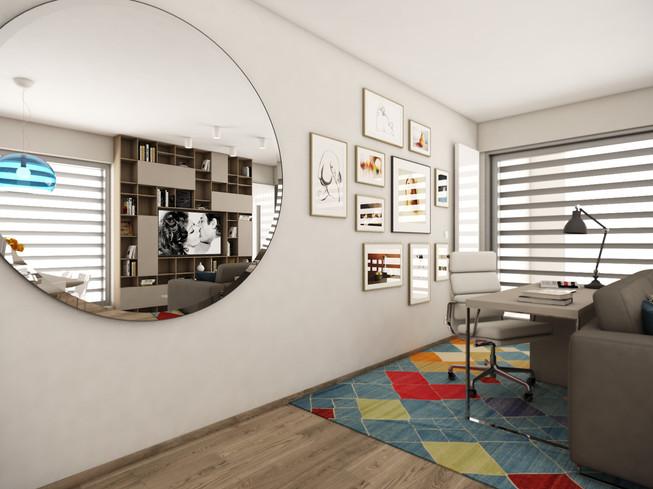 Pracovný kút v obývačke   design CADFACE