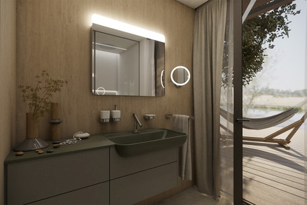 Compact en-suite bathroom with a private terrace   by CADFACE