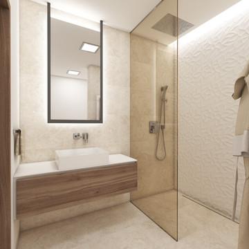 Elegant en-suite bathroom with travertine tiles   by CADFACE