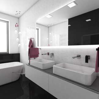 Charming high-gloss black-and-white bathroom | by CADFACE