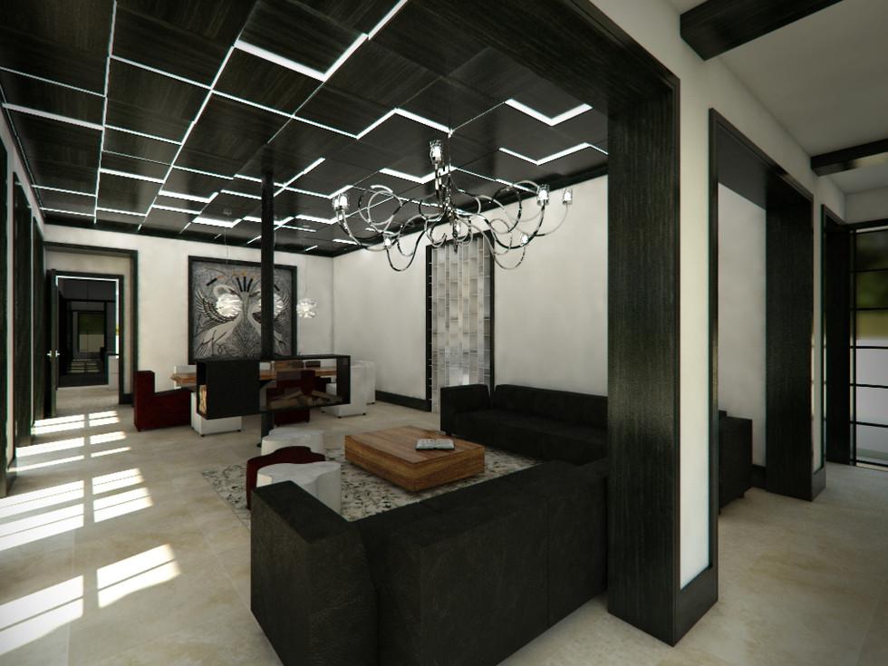 Obývacia izba prepojená s halou   design CADFACE