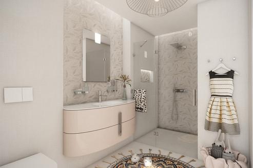 Girl's en-suite bathroom with soft pastel colour scheme | by CADFACE